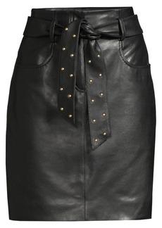 Escada Studded Tie Leather Pencil Skirt