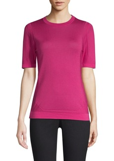 Escada Sudona Perforated Virgin Wool & Silk Knit Tee