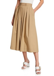 Escada Tabbed-Front Full Pleated Skirt with Pockets