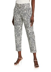 Escada Talaranto Paisley Straight-Leg Crop Pants