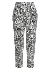 Escada Talarantom Paisley Stretch Cotton Cigarette Pants