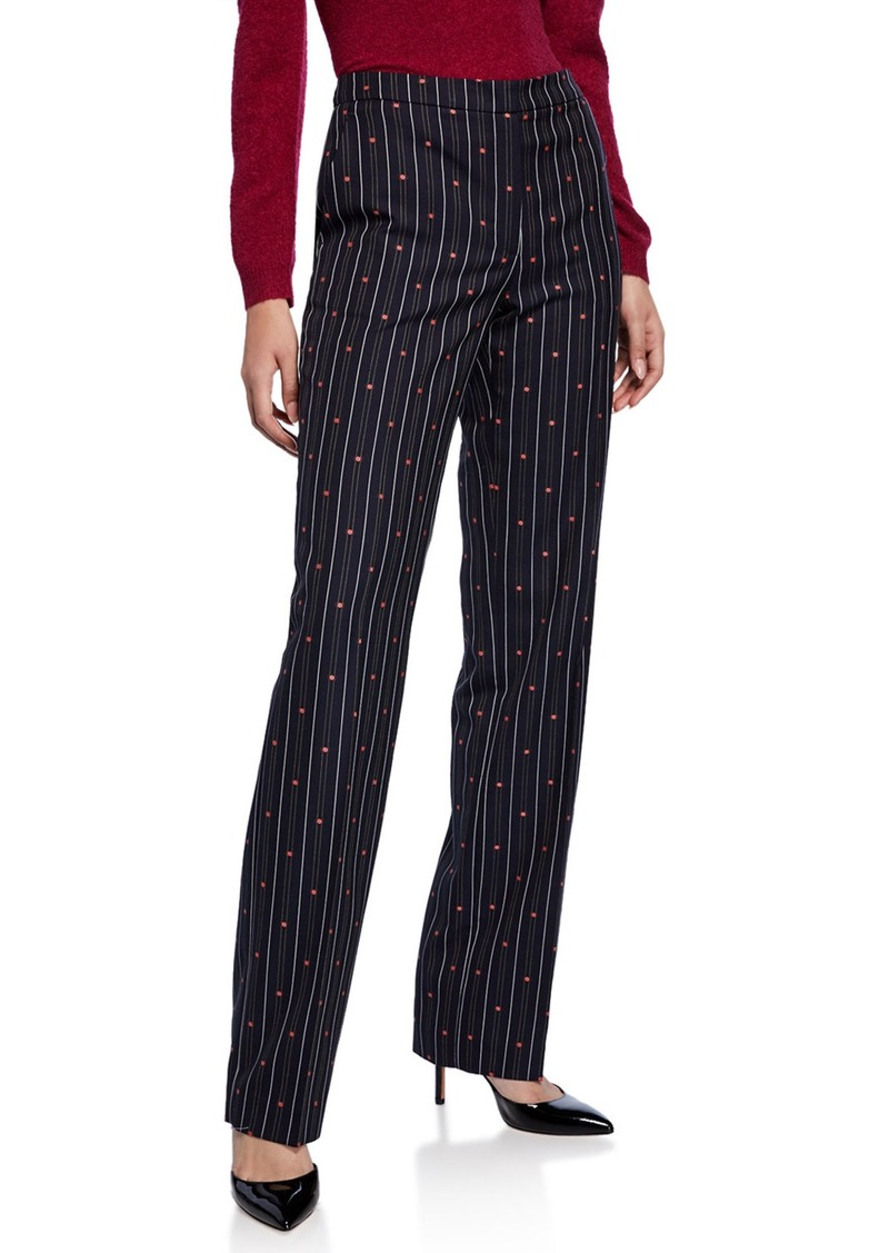Escada Taminotas Daisy-Embroidered Striped Pants