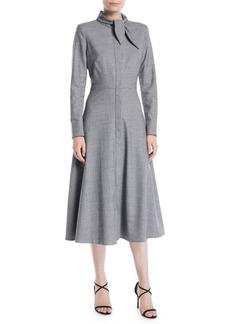 Escada Tie-Neck Zip-Front Long-Sleeve Mini-Houndstooth Wool Dress