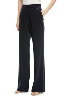 Escada Tiketanatus Wide-Leg Wool Pants with Side Zip