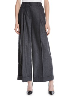 Escada Trinela Pleated Wide-Leg Grosgrain Wool-Blend Pants w/ Tux Stripe