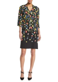 Escada V-Neck 3/4-Sleeve Floral-Print Dress