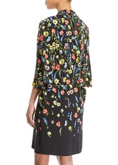Escada V-Neck 3/4-Sleeve Floral-Print Dress