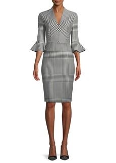 Escada V-Neck Bell-Sleeve Houndstooth Sheath Dress