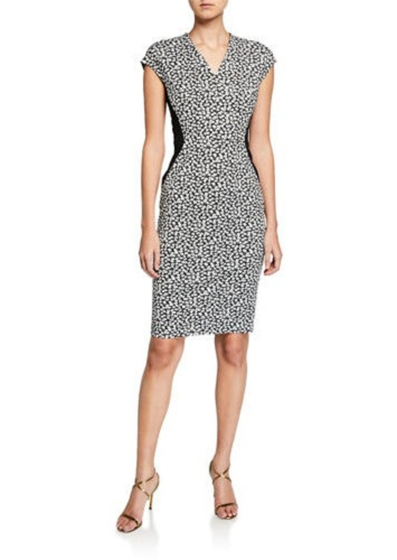 Escada V-Neck Cap-Sleeve Mini Daisy Print Dress