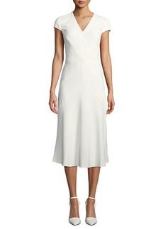 Escada V-Neck Cap-Sleeve Seamed A-Line Dress