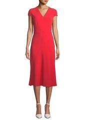 Escada V-Neck Cap-Sleeve Seamed A-Line Dress