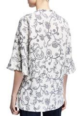 Escada V Neck Floral Lace Print Tunic