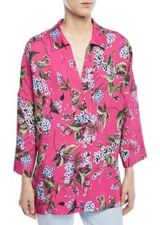 Escada V-Neck Floral-Print Tunic