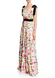Escada V-Neck Garden Floral Print Gown