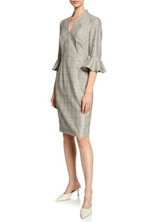 Escada V-Neck Glen-Plaid Bell-Sleeve Dress