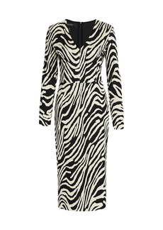 Escada V-Neck Jacquard Zebra-Print Midi Dress