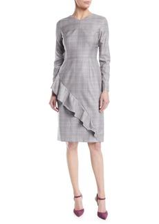 Escada V-Neck Long-Sleeve Asymmetric-Ruffle Glen Plaid Sheath Dress