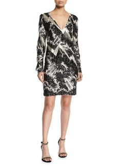 Escada V-Neck Long-Sleeve Beaded-Fringe Lightning Cocktail Dress