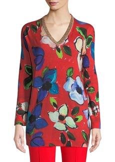 Escada V-Neck Long-Sleeve Painterly Floral-Print Tunic w/ Metallic Trim