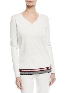 Escada V-Neck Long-Sleeve Pullover Top with Contrast Trim