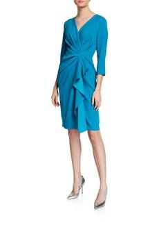 Escada V-Neck Ruffled Ruched Crepe Dress