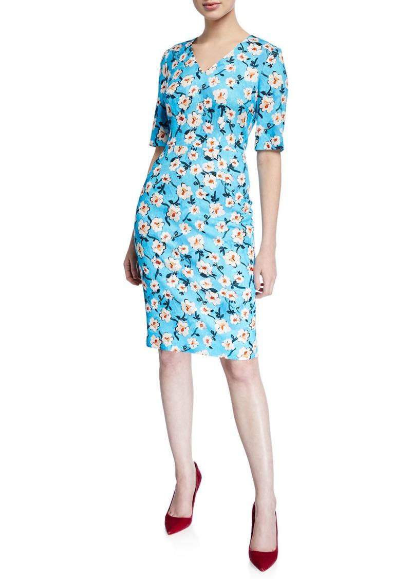 Escada V-Neck Short-Sleeve A-Line Floral-Print Jersey Dress
