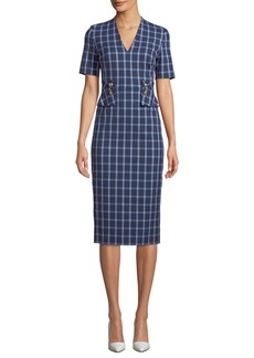 Escada V-Neck Short-Sleeve Windowpane Sheath Dress