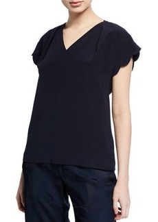 Escada V-Neck Silk Scalloped Cap-Sleeve