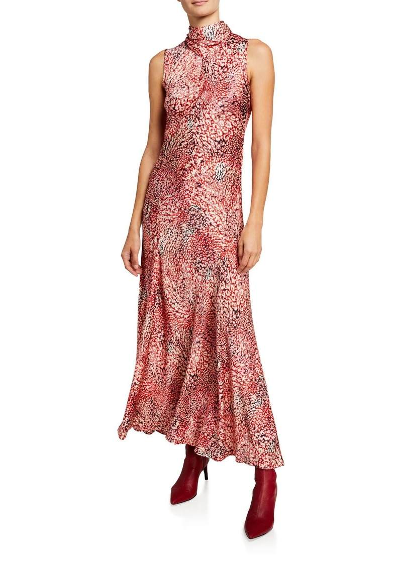 Escada Watercolor Animal-Print Satin Maxi Dress