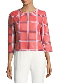 Escada Windowpane Leather Jacket