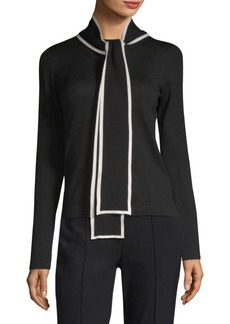 Escada Wool Tie-Neck Pullover