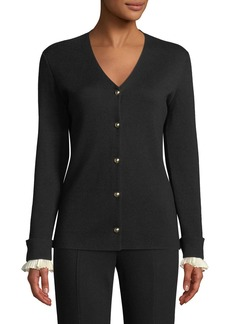 Escada Wool/Silk V-Neck Cardigan w/ Detachable Cuffs