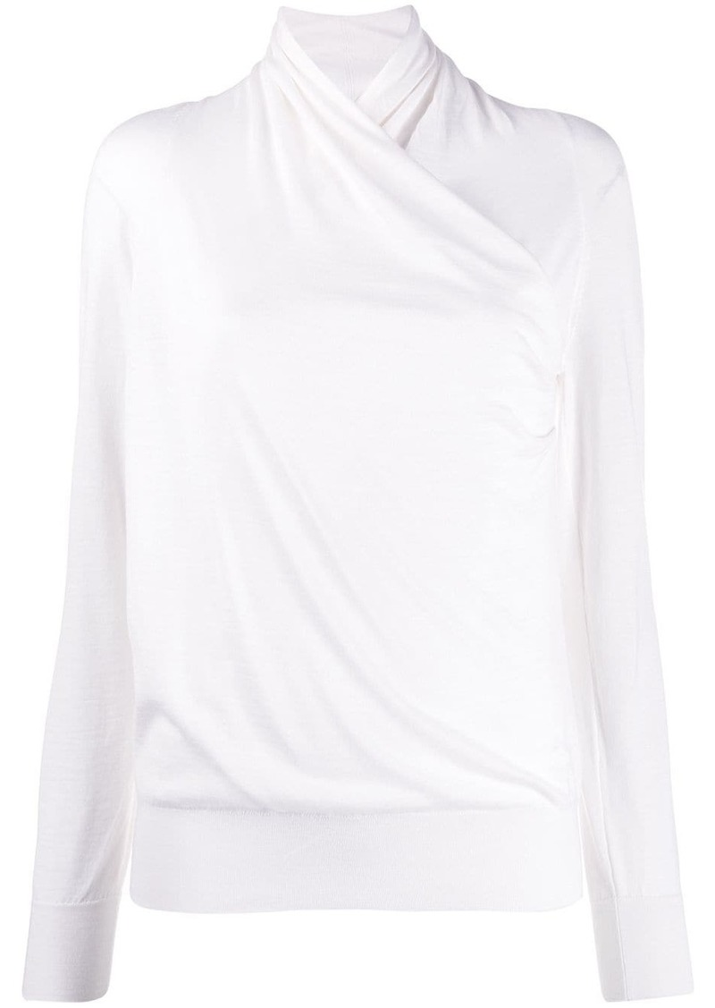 Escada wrap front knit top