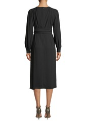 Escada Wrap-Front Long-Sleeve Crepe Midi Dress