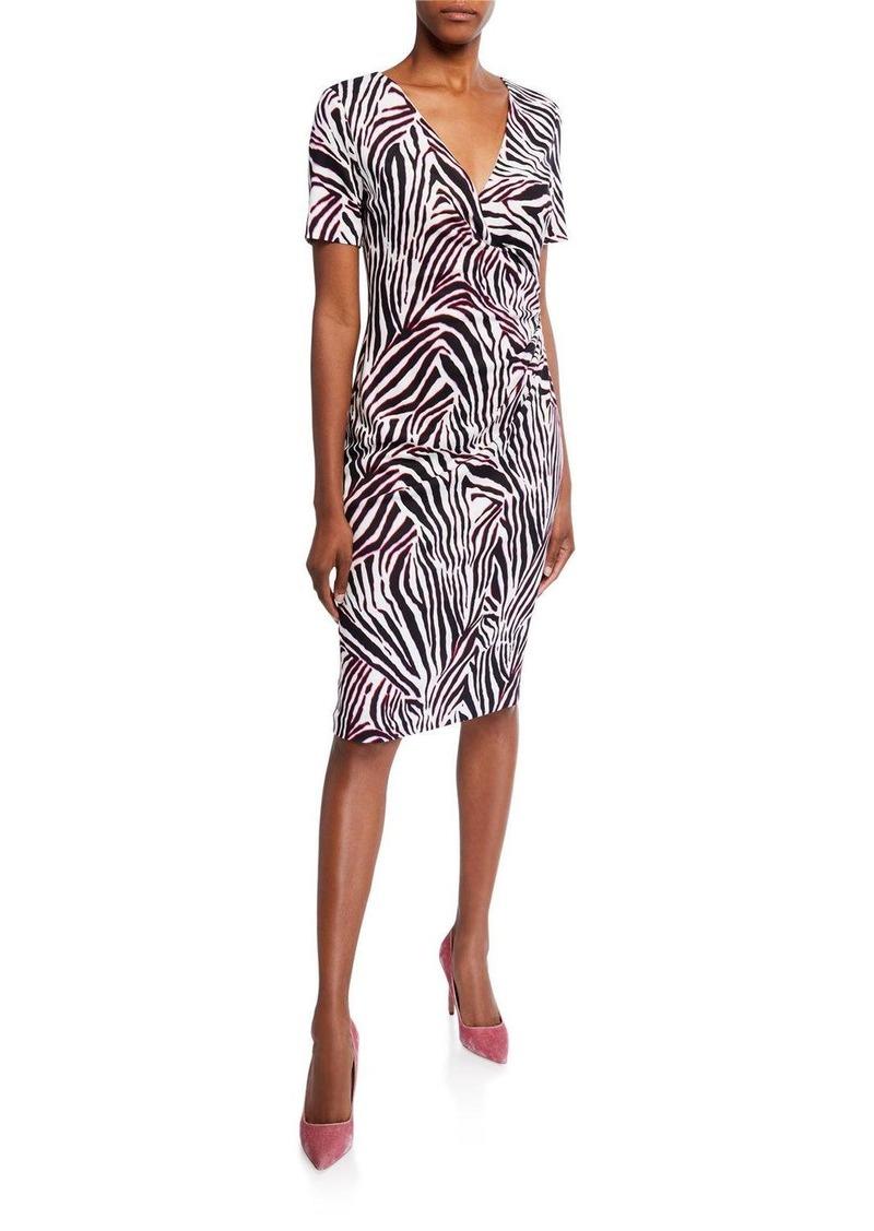 Escada Zebra-Striped Jersey Wrap Dress