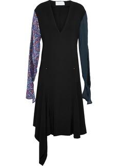 Esteban Cortazar Woman Asymmetric Printed Chiffon-paneled Crepe Dress Black
