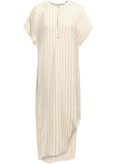 Esteban Cortazar Woman Asymmetric Striped Jacquard Midi Dress Cream
