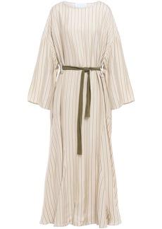 Esteban Cortazar Woman Belted Striped Jacquard Midi Dress Cream