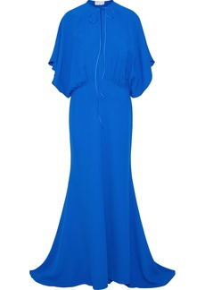 Esteban Cortazar Woman Bow-detailed Gathered Cady Gown Blue