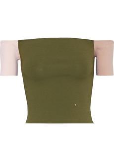 Esteban Cortazar Woman Cropped Off-the-shoulder Color-block Stretch-knit Top Multicolor
