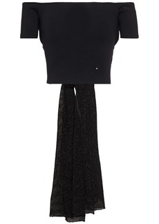 Esteban Cortazar Woman Cropped Off-the-shoulder Tie-back Knitted Top Black