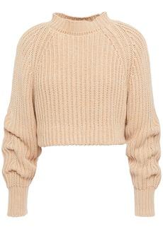 Esteban Cortazar Woman Cropped Ribbed Cotton Sweater Sand