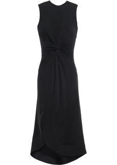 Esteban Cortazar Woman Cutout Asymmetric Paneled Twist-front Jersey Midi Dress Black