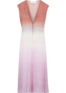 Esteban Cortazar Woman Dégradé Crinkled Silk-chiffon Midi Dress Multicolor