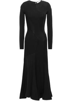 Esteban Cortazar Woman Jersey-paneled Crepe Midi Dress Black