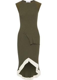 Esteban Cortazar Woman Fluted Layered Ribbed-knit Dress Army Green