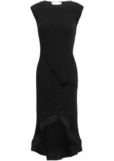 Esteban Cortazar Woman Fluted Ribbed-knit Midi Dress Black