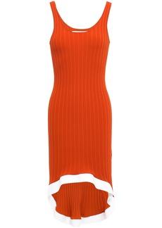 Esteban Cortazar Woman Fluted Striped Ribbed-knit Dress Tan
