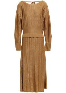 Esteban Cortazar Woman Textured Knitted Midi Dress Camel