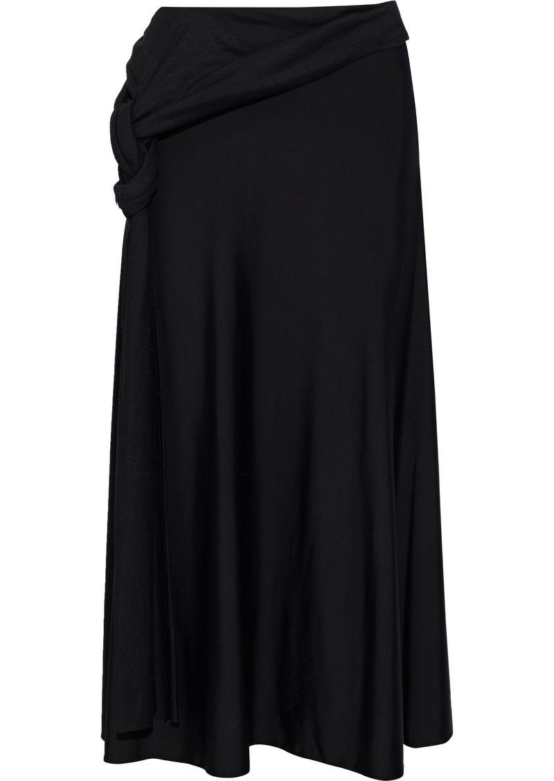 Esteban Cortazar Woman Knotted Ribbed Knit-paneled Stretch-satin Midi Skirt Black